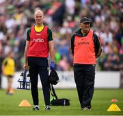 3 August 2019; Kerry physiotherapist Kieran O'Shea, left, and team doctor Mike Finnerty prior to the GAA Football All-Ireland Senior Championship Quarter-Final Group 1 Phase 3 match between Meath and Kerry at Páirc Tailteann in Navan, Meath. Photo by Stephen McCarthy/Sportsfile