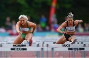 14 August 2019; Sarah Lavin of Ireland, left, and Christie Moerman of Canada competing in the Women's 100m Hurdles event, sponsored by O'Leary Insurances, during the BAM Cork City Sports at CIT Athletics Stadium in Bishopstown, Cork. Photo by Sam Barnes/Sportsfile