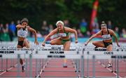 14 August 2019; Athletes, from left, Yasmin Miller of Great Britain, Sarah Lavin of Ireland and Christie Moerman of Canada competing in the Women's 100m Hurdles event, sponsored by O'Leary Insurances, during the BAM Cork City Sports at CIT Athletics Stadium in Bishopstown, Cork. Photo by Sam Barnes/Sportsfile