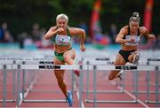 14 August 2019; Sarah Lavin of Ireland, left, knocks the final hurdle whilst competing against Christie Moerman of Canada in the Women's 100m Hurdles event, sponsored by O'Leary Insurances, during the BAM Cork City Sports at CIT Athletics Stadium in Bishopstown, Cork. Photo by Sam Barnes/Sportsfile