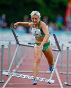 14 August 2019; Sarah Lavin of Ireland after knocking the final hurdle whilst competing in the Women's 100m Hurdles event, sponsored by O'Leary Insurances, during the BAM Cork City Sports at CIT Athletics Stadium in Bishopstown, Cork. Photo by Sam Barnes/Sportsfile