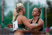 14 August 2019; Sarah Lavin of Ireland, left, congratulates Christie Moerman of Canada following the Women's 100m Hurdles event, sponsored by O'Leary Insurances, during the BAM Cork City Sports at CIT Athletics Stadium in Bishopstown, Cork. Photo by Sam Barnes/Sportsfile