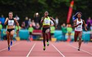 14 August 2019; Candance Hill of USA, centre, on her way to winning the Women's 100m event, sponsored by Centra, ahead of Phil Healy of Ireland, left, and Kiara Parker of USA during the BAM Cork City Sports at CIT Athletics Stadium in Bishopstown, Cork. Photo by Sam Barnes/Sportsfile