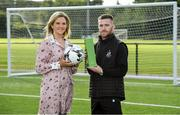 15 August 2019; Jack Byrne of Shamrock Rovers is presented with his SSE Airtricity/SWAI Player of the Month award for July 2019 by Leanne Sheill, Marketing Manager, SSE Airtricity, at Shamrock Rovers FC academy in Dublin. Photo by Matt Browne/Sportsfile