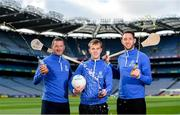 15 August 2019; In attendance at the unveiling of Ballygowan Activ+ as the new Official Fitness Partner of the GAA/GPA are, from left, former Tipperary hurler and All-Ireland winner Brendan Cummins, former Kerry Footballer and All-Ireland winner Fionn Fitzgerald and former Kilkenny hurler and All-Ireland winner Michael Fennelly at Croke Park in Dublin. Photo by Sam Barnes/Sportsfile