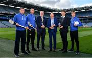15 August 2019; In attendance at the unveiling of Ballygowan Activ+ as the new Official Fitness Partner of the GAA/GPA are, from left, former Tipperary hurler and All-Ireland winner Brendan Cummins, former Kilkenny hurler and All-Ireland winner Michael Fennelly, Uachtarán Chumann Lúthchleas Gael John Horan, Kevin Donnelly, Managing Director, Britvic Ireland, Paul Flynn, GPA CEO, and former Kerry Footballer and All-Ireland winner Fionn Fitzgerald at Croke Park in Dublin. Photo by Sam Barnes/Sportsfile