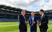 15 August 2019; In attendance at the unveiling of Ballygowan Activ+ as the new Official Fitness Partner of the GAA/GPA are, from left, Uachtarán Chumann Lúthchleas Gael John Horan, Kevin Donnelly, Managing Director, Britvic Ireland and Paul Flynn, GPA CEO, at Croke Park in Dublin. Photo by Sam Barnes/Sportsfile