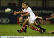 3 October 2003; Kieran Campbell, Ulster, tackled by Leinster's Des Dillon and Brian O'Riordan. Celtic Cup Quarter-Final, Ulster v Leinster, Ravenhill, Belfast. Rugby. Picture credit; Matt Browne / SPORTSFILE *EDI*