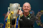 16 August 2019; Chris McCaffrey, from Bawnboy, Cavan, with the Liam MacCarthy Cup at the GAA's Home for the Match stand in the arrivals hall at Dublin Airport. Photo by Ramsey Cardy/Sportsfile