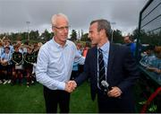 16 August 2019; Republic of Ireland manager Mick McCarthy and Salthill Devon FC chairman Rob Meehan at the official opening of Salthill Devon FC's all-weather pitch  following a Republic of Ireland squad announcement in Galway. Photo by Stephen McCarthy/Sportsfile