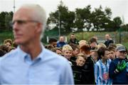 16 August 2019; Young footballer watch on at Republic of Ireland manager Mick McCarthy during the official opening of an all-weather pitch at Salthill Devon FC following a Republic of Ireland squad announcement in Galway. Photo by Stephen McCarthy/Sportsfile