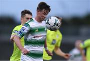 9 August 2019; Ronan Finn of Shamrock Rovers in action against Mark Russell of Finn Harps during the Extra.ie FAI Cup First Round match between Shamrock Rovers and Finn Harps at Tallaght Stadium in Tallaght, Dublin. Photo by Piaras Ó Mídheach/Sportsfile