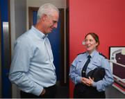 16 August 2019; Republic of Ireland manager Mick McCarthy meets Garda Nora Brady following his Republic of Ireland squad announcement at Salthill Devon FC in Galway. Photo by Stephen McCarthy/Sportsfile