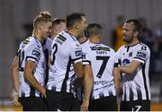 16 August 2019; Georgie Kelly of Dundalk, left, celebrates with team-mates after scoring his side's second goal during the SSE Airtricity League Premier Division match between Dundalk and Finn Harps at Oriel Park in Louth. Photo by Eóin Noonan/Sportsfile