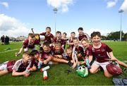 17 August 2019; Players from Dicksboro, Co Kilkenny, celebrate after winning the Hurling U11 Boys A final during Day 1 of the Aldi Community Games August Festival, which saw over 3,000 children take part in a fun-filled weekend at UL Sports Arena in University of Limerick, Limerick. Photo by David Fitzgerald/Sportsfile