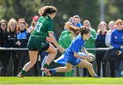 17 August 2019; Rachel Conroy of Leinster goes over to score her side's first try despite the efforts of Alana Roche of Connacht during the Under 18 Girls Interprovincial Rugby Championship match between Leinster and Connacht at MU Barnhall in Leixlip, Kildare. Photo by Sam Barnes/Sportsfile