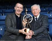 17 August 2019; Former Tipperary All Ireland winner Tony Wall, right, is presented with his lifetime achievement award for hurling by Donal Óg Cusack, GPA President, during a GPA Hurling Legends lunch at Croke Park in Dublin. Photo by Matt Browne/Sportsfile