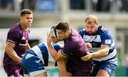 17 August 2019; Cian Kelleher of Leinster is tackled by Andy Bulumakau, left, and James Gibbons of Coventry during the Bank of Ireland pre-season friendly match between Leinster and Coventry at Energia Park in Donnybrook, Dublin. Photo by Eóin Noonan/Sportsfile