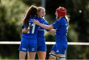17 August 2019; Ciara Faulkner of Leinster, centre, is congratulated by Rachel Conroy, left, and Aoife Wafer after scoring her side's seventh try during the Under 18 Girls Interprovincial Rugby Championship match between Leinster and Connacht at MU Barnhall in Leixlip, Kildare. Photo by Sam Barnes/Sportsfile
