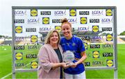 17 August 2019; Aishling Moloney of Tipperary receives the Player of the Match award from Ladies Gaelic Football Association President, Marie Hickey, following the TG4 All-Ireland Ladies Football Intermediate Championship Semi-Final match between Sligo and Tipperary at Nowlan Park in Kilkenny. Photo by Piaras Ó Mídheach/Sportsfile