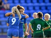 17 August 2019; Ailsa Hughes of Leinster, left, is congratulated by team-mate Sene Naoupu, after scoring her side's third try during the Women's Interprovincial Rugby Championship match between Leinster and Connacht at Energia Park in Donnybrook, Dublin. Photo by Seb Daly/Sportsfile