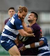 17 August 2019; Cian Kelleher of Leinster in action against Will Maisey, left, and Andy Bulumakau of Coventry during the Bank of Ireland pre-season friendly match between Leinster and Coventry at Energia Park in Donnybrook, Dublin. Photo by Eóin Noonan/Sportsfile