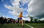 17 August 2019; Eloise O'Brien of Sixmilebridge-Kilmurry, Co Clare competing in the Girls U14 Long Puck during Day 1 of the Aldi Community Games August Festival, which saw over 3,000 children take part in a fun-filled weekend at UL Sports Arena in University of Limerick, Limerick. Photo by David Fitzgerald/Sportsfile