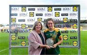 17 August 2019; Emma Duggan of Meath receives the Player of the Match award from Ladies Gaelic Football Association President, Marie Hickey, following the TG4 All-Ireland Ladies Intermediate Football Championship Semi-Final match between Meath and Roscommon, at Nowlan Park in Kilkenny. Photo by Piaras Ó Mídheach/Sportsfile
