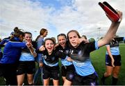 17 August 2019; Players, from left, Niamh O'Brien, Abi Vozza and Ceola Bergin of Roscrea, Co Tipperary celebrate their victory over Fanad, Co Donegal in the Girls U15 Soccer final during Day 1 of the Aldi Community Games August Festival, which saw over 3,000 children take part in a fun-filled weekend at UL Sports Arena in University of Limerick, Limerick. Photo by David Fitzgerald/Sportsfile