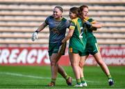 17 August 2019; Meath players, from left, Monica McGuirk, Katie Newe, and Orlaith Duff celebrate after the TG4 All-Ireland Ladies Football Intermediate Championship Semi-Final match between Meath and Roscommon at Nowlan Park in Kilkenny. Photo by Piaras Ó Mídheach/Sportsfile