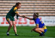 17 August 2019; Orlaith Duff of Meath shakes hands with Sinéad Glennon of Roscommon after the TG4 All-Ireland Ladies Football Intermediate Championship Semi-Final match between Meath and Roscommon at Nowlan Park in Kilkenny. Photo by Piaras Ó Mídheach/Sportsfile