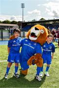 17 August 2019; Mascots Hugh Dunleavy, age 7, from Glenageary, Dublin, left, and Seán Purcell, age 7, from Blanchardstown, Dublin, with Leinster mascot Leo the Lion, prior to the Bank of Ireland pre-season friendly match between Leinster and Coventry at Energia Park in Donnybrook, Dublin. Photo by Seb Daly/Sportsfile