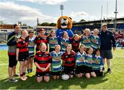 17 August 2019; Arklow RFC and Gorey RFC with Leo The Lion prior to the Bank of Ireland Half-Time Minis at the pre-season friendly match between Leinster and Coventry at Energia Park in Donnybrook, Dublin. Photo by Seb Daly/Sportsfile