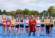 17 August 2019; Mayor of the City and County of Limerick, Michael Sheahan, with competitors from the Girls' U14 Relay during Day 1 of the Aldi Community Games August Festival, which saw over 3,000 children take part in a fun-filled weekend at UL Sports Arena in University of Limerick, Limerick. Photo by Ben McShane/Sportsfile