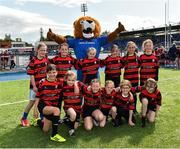 17 August 2019; Clane / North Kildare Wolves with Leo The Lion prior to the Bank of Ireland Half-Time Minis at the pre-season friendly match between Leinster and Coventry at Energia Park in Donnybrook, Dublin. Photo by Seb Daly/Sportsfile