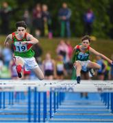 18 August 2019; Gavin Murphy of Claremorris, Co Mayo, left, and Kevin Lambe of Hacketstown, Co Carlow competing in the U14 Boys 60M hurdles semi-final during Day 2 of the Aldi Community Games August Festival, which saw over 3,000 children take part in a fun-filled weekend at UL Sports Arena in University of Limerick, Limerick. Photo by David Fitzgerald/Sportsfile