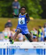 18 August 2019; Kareem Matonmi of Baltinglass, Co Wicklow competing in the U14 Boys 60M hurdles semi-final during Day 2 of the Aldi Community Games August Festival, which saw over 3,000 children take part in a fun-filled weekend at UL Sports Arena in University of Limerick, Limerick. Photo by David Fitzgerald/Sportsfile