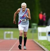 18 August 2019; Con Hearty from Dundrum South Dublin A.C. on his way to winning the Men's Over-80 3000m walk during the Irish Life Health National Masters Track and Field Championships at Tullamore Harriers Stadium in Tullamore, Co Offaly. Photo by Matt Browne/Sportsfile