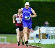 18 August 2019; Pat Murphy from Castleisland A.C. Co Kerry competing in the 5000m walk during the Irish Life Health National Masters Track and Field Championships at Tullamore Harriers Stadium in Tullamore, Co Offaly. Photo by Matt Browne/Sportsfile