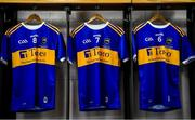 18 August 2019; The jersey of Noel McGrath, Séamus Kennedy and Padraic Maher hang in the Tipperary dressingroom prior to the GAA Hurling All-Ireland Senior Championship Final match between Kilkenny and Tipperary at Croke Park in Dublin. Photo by Brendan Moran/Sportsfile
