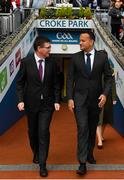 18 August 2019; Ard Stiúrthóir Tom Ryan, left, and An Taoiseach Leo Varadkar, T.D. prior to the Electric Ireland GAA Hurling All-Ireland Minor Championship Final match between Kilkenny and Galway at Croke Park in Dublin. Photo by Seb Daly/Sportsfile