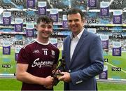 18 August 2019; Pat Fenlon, Group Finance Director, ESB, presents Sean McDonagh of Galway with the Player of the Match award for his major performance in the Electric Ireland GAA All-Ireland Minor Hurling Championship Final. Throughout the Championships, fans can follow the conversation, vote for their player of the week, support the Minors and be a part of something major through the hashtag #GAAThisIsMajor. Photo by Brendan Moran/Sportsfile
