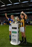 18 August 2019; Match Mascots Michelle Cash, Scoil Ruadháin, Tullaroan, Co. Kilkenny and Rory McLoughney, Ardcroney NS, Co. Tipperary bring out the Liam MacCarthy Cup during the GAA Hurling All-Ireland Senior Championship Final match between Kilkenny and Tipperary at Croke Park in Dublin. Photo by Seb Daly/Sportsfile