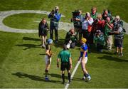 18 August 2019; Referee James Owens does the coin toss with Kilkenny captain TJ Reid and Tipperary captain Séamus Callanan ahead of the GAA Hurling All-Ireland Senior Championship Final match between Kilkenny and Tipperary at Croke Park in Dublin. Photo by Daire Brennan/Sportsfile