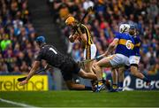 18 August 2019; Brian Hogan of Tipperary saves a shot on goal by Colin Fennelly of Kilkenny during the GAA Hurling All-Ireland Senior Championship Final match between Kilkenny and Tipperary at Croke Park in Dublin. Photo by Eóin Noonan/Sportsfile