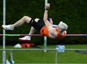 18 August 2019; Aidan Gillespie from Rosses AC Co Donegal competing in the mens over 45's high jump  during the Irish Life Health National Masters Track and Field Championships at Tullamore Harriers Stadium in Tullamore, Co Offaly. Photo by Matt Browne/Sportsfile