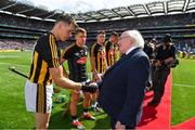 18 August 2019; President of Ireland Michael D. Higgins shakes hands with Kilkenny TJ Reid prior to the GAA Hurling All-Ireland Senior Championship Final match between Kilkenny and Tipperary at Croke Park in Dublin. Photo by Brendan Moran/Sportsfile