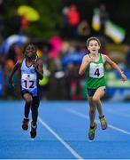 18 August 2019; Grainne Diamond Ebs of Skerries, Co Dublin, left, and Eimer Purtill of Croom-Banogue-Manister, Co Limerick during the girls U10 200m final during Day 2 of the Aldi Community Games August Festival, which saw over 3,000 children take part in a fun-filled weekend at UL Sports Arena in University of Limerick, Limerick. Photo by David Fitzgerald/Sportsfile