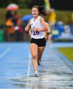 18 August 2019; Cara Laverty of Steelstown, Co Derry on her way to winning the girls U16 1500m final during Day 2 of the Aldi Community Games August Festival, which saw over 3,000 children take part in a fun-filled weekend at UL Sports Arena in University of Limerick, Limerick. Photo by David Fitzgerald/Sportsfile