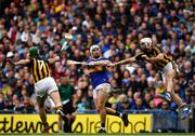 18 August 2019; Niall O'Meara of Tipperary has his shot blocked by Paddy Deegan and Conor Fogarty of Kilkenny during the GAA Hurling All-Ireland Senior Championship Final match between Kilkenny and Tipperary at Croke Park in Dublin. Photo by Brendan Moran/Sportsfile